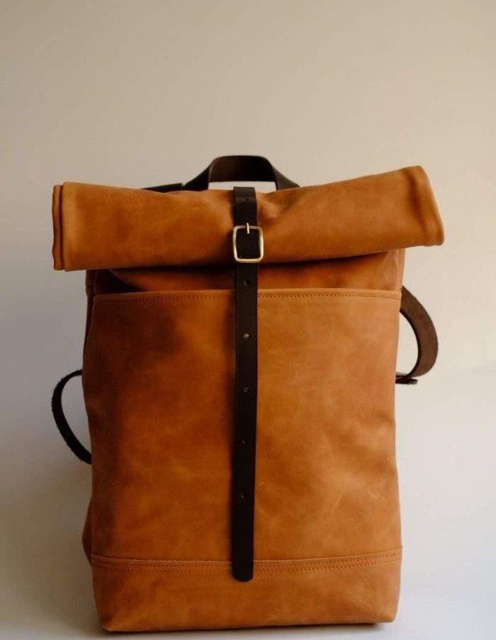 96920864f579 Кожаный мужской рюкзак Rolltop (светло-коричневый) · Кожаные рюкзаки ручной  работы