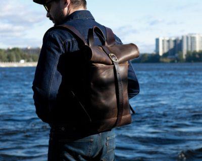 Кожаный мужской рюкзак Rolltop (шоколад) размер S