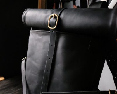 Кожаный мужской рюкзак Rolltop — Черный размер S