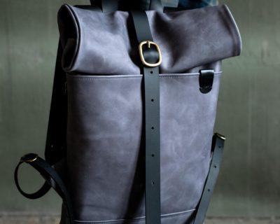 Кожаный мужской рюкзак Rolltop — Серый размер S