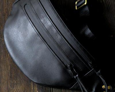 Поясная кожаная сумка mini черная